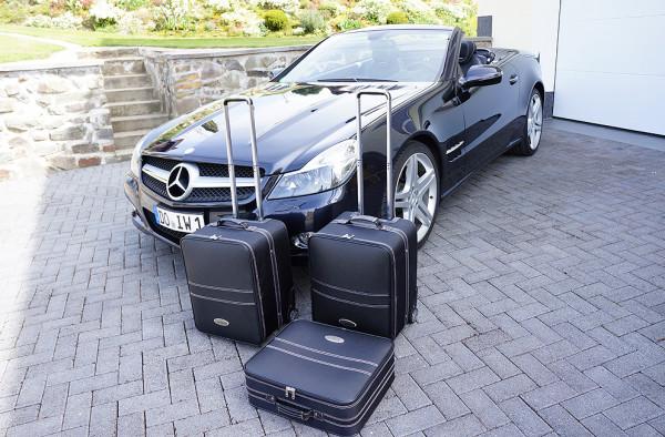 Cabrio Kofferset echt Leder für Mercedes SL R230 Bj. 2001 - 2011