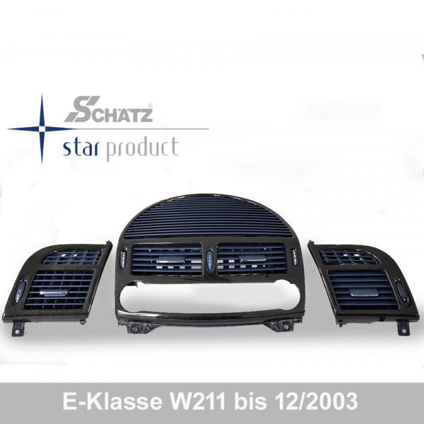 Schätz ® Edelholz Lüftungsdüsenset Vogelaugenahorn/pazificblau für Mercdes E-Klasse W211 bis 12-2003