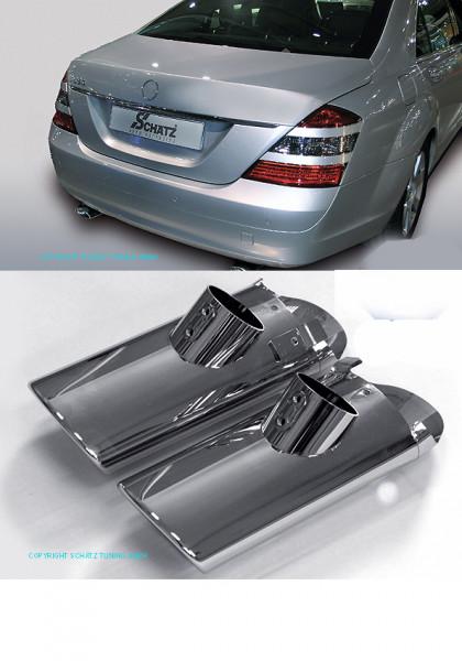 Schätz ® Sport Chrom Auspuffendrohre 2-flutig Auspuffendrohre für Mercedes S-Klasse W221 09/2005-05/2009