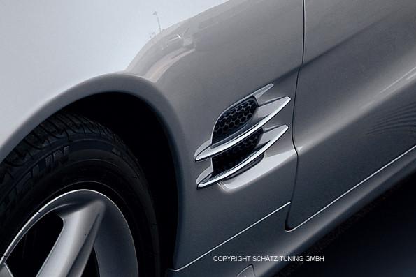 Chrom Finnen Satz Kotflügel Mercedes SL R230 2001-2008
