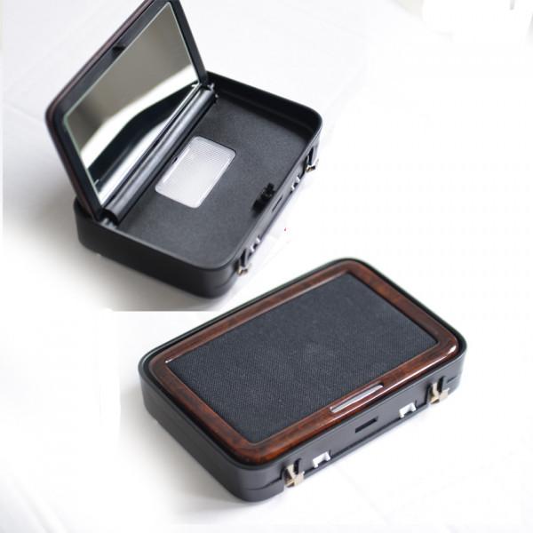 Kosmetikspiegel für S-Klasse W221 Wurzelnuss glänzend, Innenausstattung schwarz