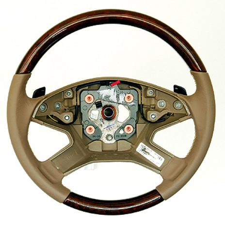 Schätz ® Sportlenkrad Wurzelnuss Leder kaschmirbeige mit Schaltwippen Mercedes Benz ML W164 2005-07/2008 / GL X164 2006-06/2009