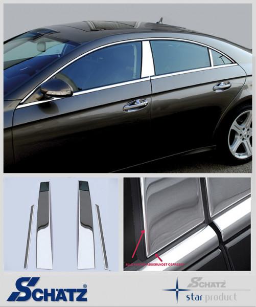 Schätz ® Edelstahl B-Säulenverkleidung hochglanzpoliert für Mercedes Benz CLS C219 Limousine, 2004-2010