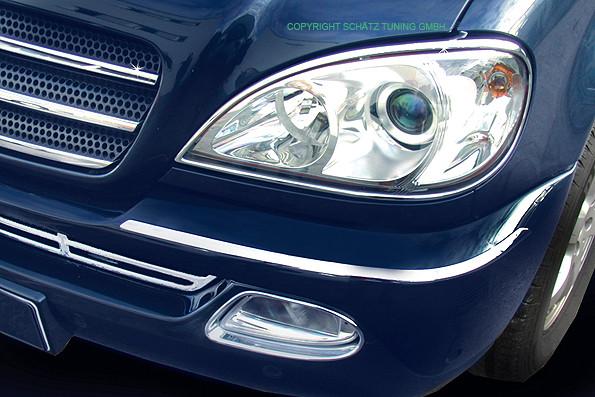 Chrom Stoßstangen Zierleisten Mercedes ML mit Scheinwerferwasch bis Baujahr ab 09/2001
