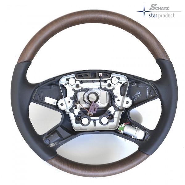 Schätz ® Sportlenkrad Esche braun offenporig/Leder schwarz mit Fahrspurhalte-Assistent für Mercedes Benz E-Klasse W212