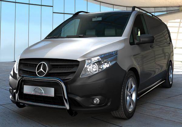 Edelstahl schwarz EU-Personenschutzbügel 60 mm mit Querrohr 42 mm für Mercedes Vito W447 ab 2014
