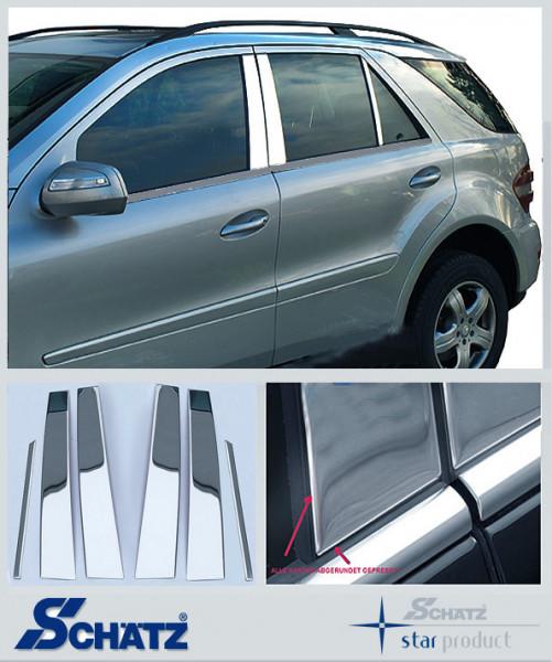 Schätz ® Edelstahl B-Säulenverkleidung hochglanzpoliert für Mercedes Benz ML W164 2005>10/2011