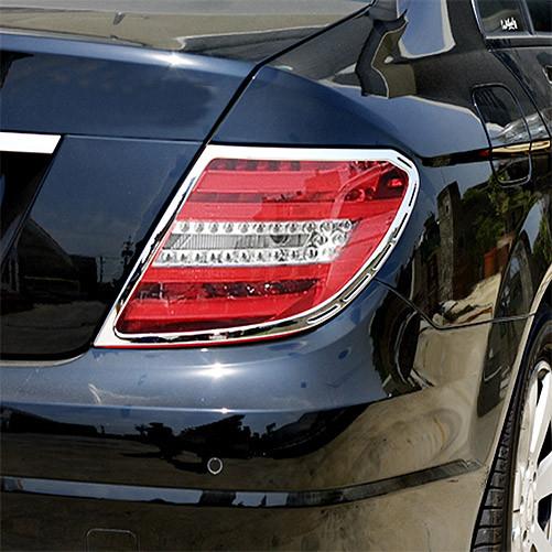 Schätz ® Chrom Rücklichtrahmen für Mercedes Benz C-Klasse W204 Limousine 03/2007-01/2014 C-204 Coupe 2011–2015