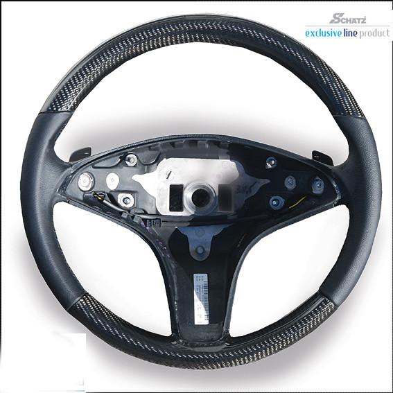 """Schätz ® Sportlenkrad 3 Speichen Carbon/Leder """"sport 1""""mit Tiptronic Schaltpaddel, C-Klasse W204"""