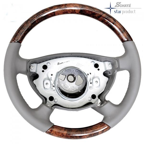 Schätz ® Sportlenkrad Wurzelnuss/Leder sierragrau Mercedes E-Klasse W211 bis 05/2006
