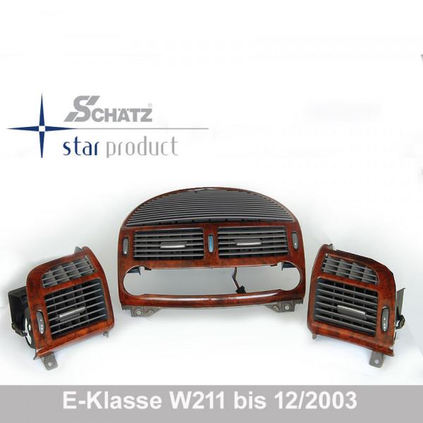Schätz ® Edelholz Lüftungsdüsenset Wurzelnuss/sierragrau für Mercdes E-Klasse W211 bis 12-2003