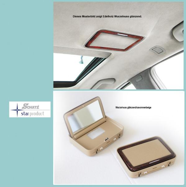 Kosmetikspiegel S-Klasse W221 Wurzelnuss glänzend, Innenausstattung savannenbeige