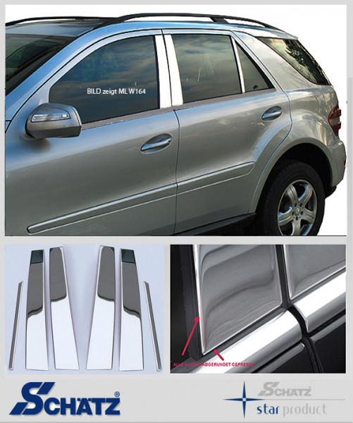 Schätz ® Edelstahl B-Säulenverkleidung hochglanzpoliert für Mercedes Benz ML W163 1997–2005