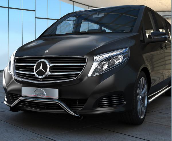 Edelstahl EU-Personenschutzbügel 60 mm schwarz für Mercedes V-Klasse W447 mit EC-Genehmigung