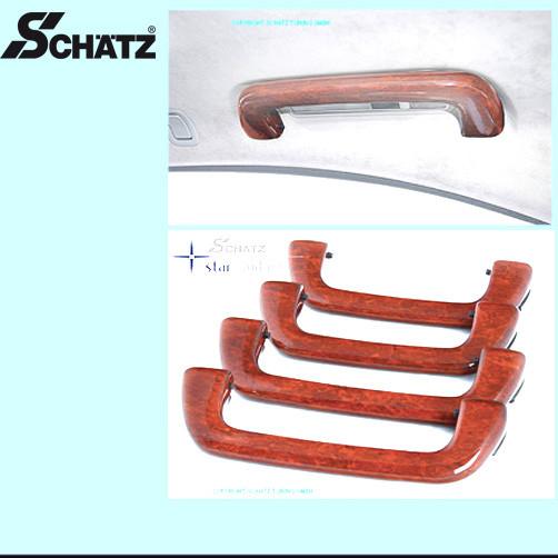 Schätz ® Edelholz Dachhaltegriffe in Calyptus für S-Klasse W221 ohne Glasschiebedach mit Innenausstattung Savannenbeige
