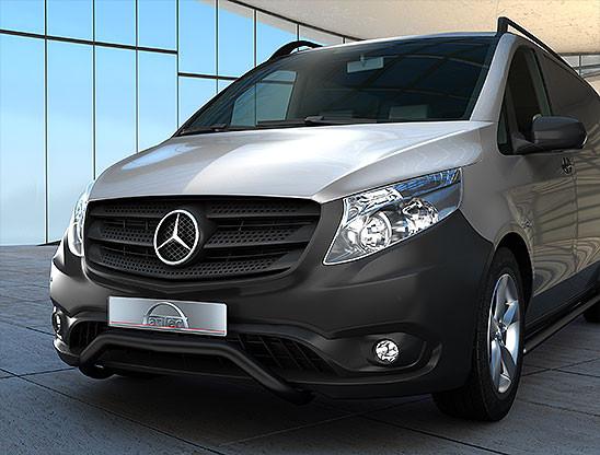 Edelstahl EU-Personenschutzbügel in schwarz 60 mm für Mercedes Vito W447 ab 2014