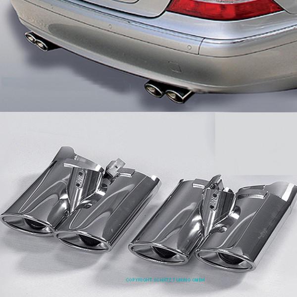 Schätz ® Sport Chrom Endrohre 4-flutig Mercedes S-Klasse W220 Bj. 1998 - 2005