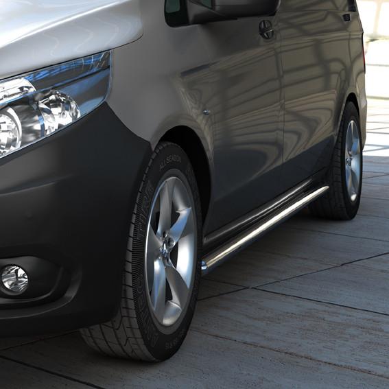 Edelstahl Flankenschutzrohre 60 mm für Mercedes V-Klasse/Vito W447 Radstand 3200 mm