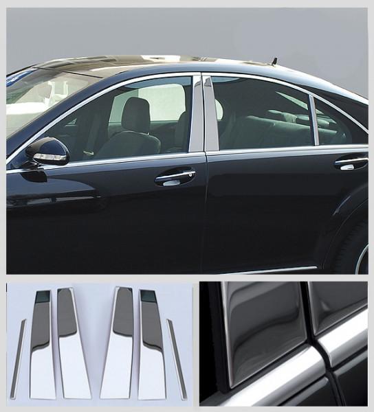 Schätz ® Edelstahl B-Säulenverkleidung hochglanzpoliert für Mercedes Benz S-Klasse W221 09/2005 - 06/2013