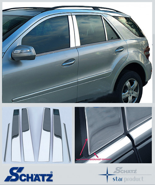 Schätz ® Edelstahl B-Säulenverkleidung hochglanzpoliert für Mercedes Benz GL X164 2006 - 2012