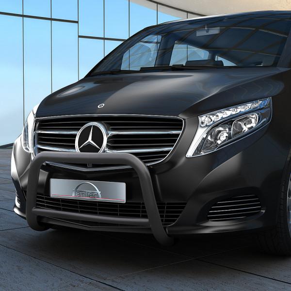 Edelstahl EU-Personenschutzbügel schwarz 60 mm mit Querrohr 42 mm für Mercedes V-Klasse W447 ab 2014